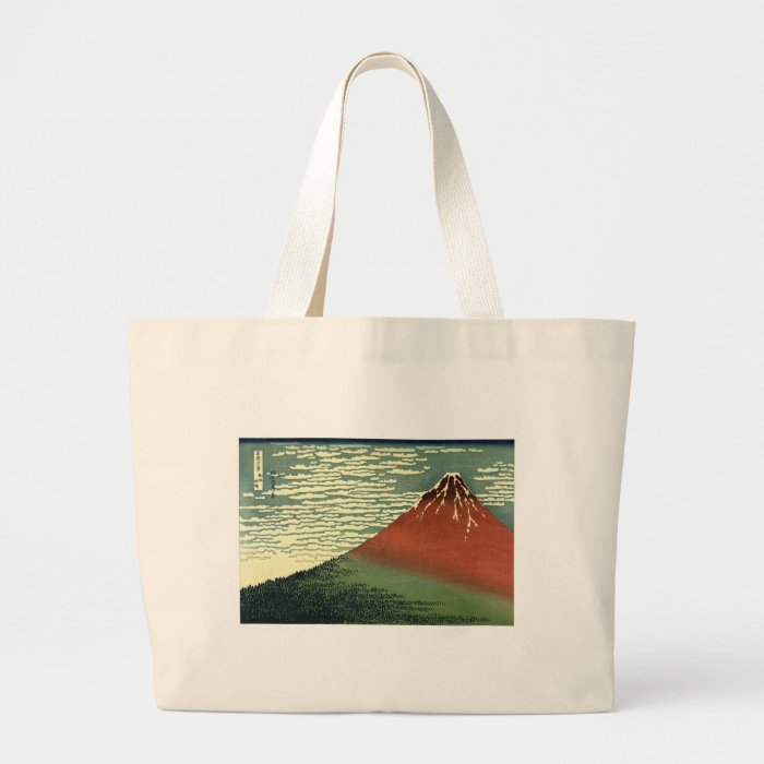 """Hokusai's South Wind, Clear Sky or """"Red Fuji"""" Large Tote Bag"""