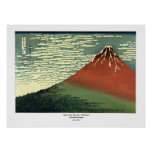 """Hokusai's South Wind, Clear Sky or """"Red Fuji"""" Poster"""