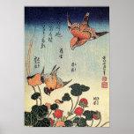 Hokusai's 'Wild Strawberries and Birds' Print