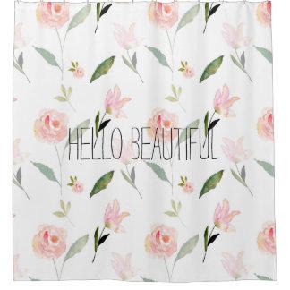 Hola acuarela hermosa floral cortina de baño