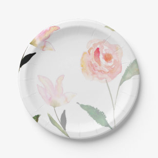 Hola acuarela hermosa floral platos de papel