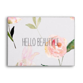 Hola acuarela hermosa floral sobres
