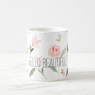 Hola acuarela hermosa floral taza clásica