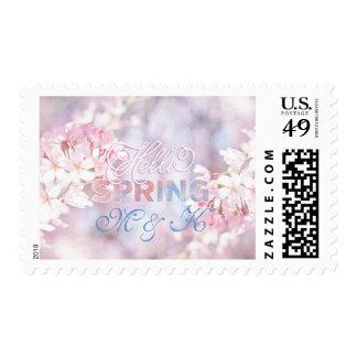 Hola acuarela rosada de la flor de cerezo de sellos