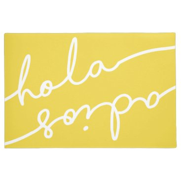 notablenovelties Hola Adios Spanish Typography - Pick Your Color Doormat