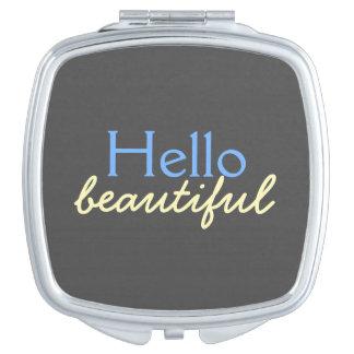 Hola - adulando a cada cara - azul hermoso espejo de viaje