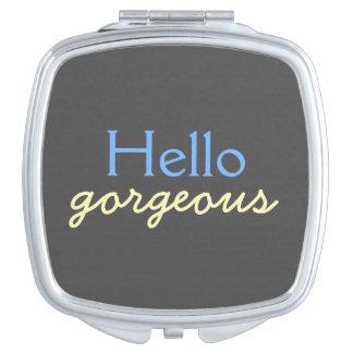Hola - adulando a cada cara - azul magnífico espejos de viaje