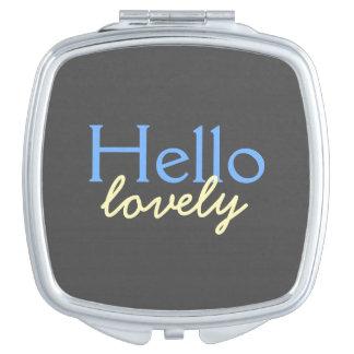 Hola - adulando a cada cara - azul precioso espejo para el bolso