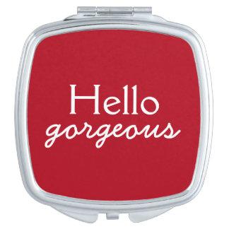 Hola - adulando a cada cara - rojo magnífico espejos de maquillaje