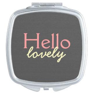 Hola - adulando a cada cara - rosa precioso espejo de viaje