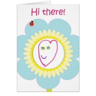 Hola allí florezca - las ilustraciones del niño felicitacion