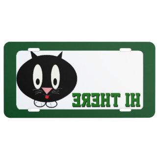 Hola allí gato del gatito placa de matrícula