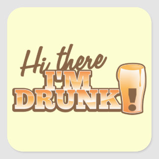 ¡Hola allí! ¡Me BEBEN! de la tienda de la cerveza Pegatina Cuadrada