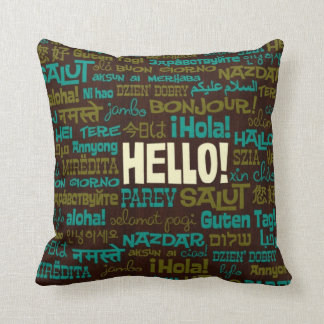 Hola almohada (de la lengua multi) cojín decorativo