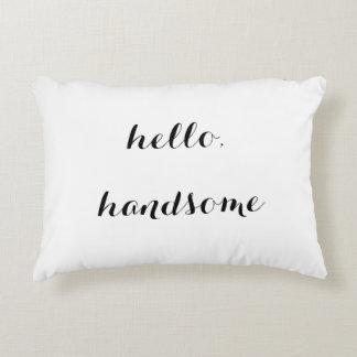 """Hola,"" almohada decorativa hermosa Cojín"