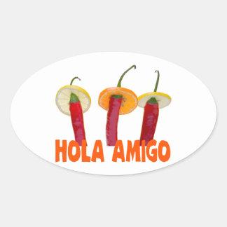 Hola Amigo Oval Sticker