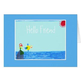 Hola amigo - sirena y pescados tarjeton