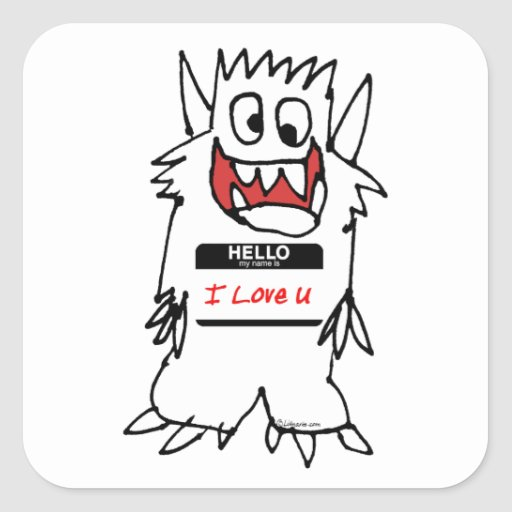 Hola, amo al monstruo de U Calcomania Cuadradas