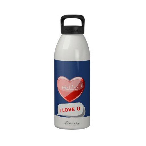 ¡Hola! ¡Amo U! Corazón en azul de cobalto. Románti Botella De Agua