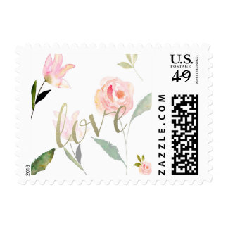 Hola amor floral del oro de la acuarela hermosa sello postal