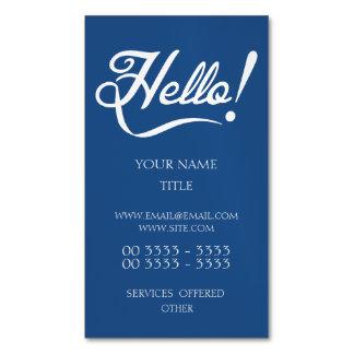 Hola azul clásico tarjetas de visita magnéticas (paquete de 25)