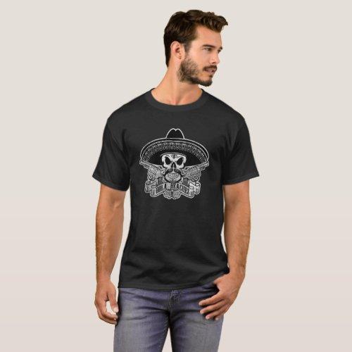 Hola Beaches T_Shirt Mexican Skull Sombrero Mousta
