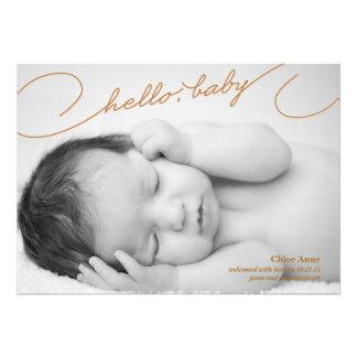 Hola bebé - invitación recién nacida del nacimient