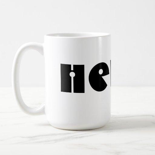 ¡Hola!  Blanco y negro. Personalizado Tazas De Café