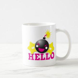 Hola bomba sonriente linda tazas de café
