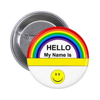 Hola botón del arco iris pin redondo de 2 pulgadas