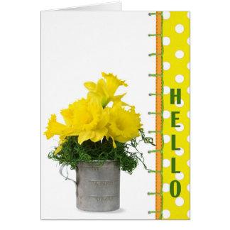 Hola brillante tarjeta de felicitación