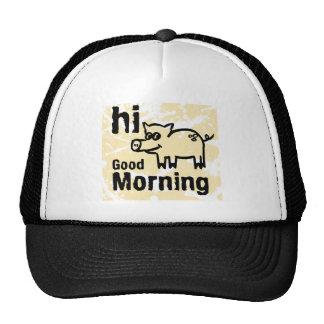 hola buena mañana gorros bordados
