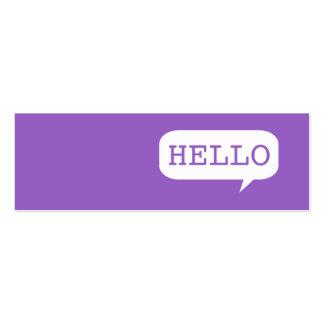 """""""Hola"""" burbuja del discurso Tarjeta De Visita"""