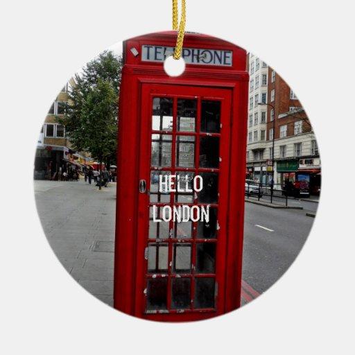 Hola cabina del Londres-Teléfono Adorno Navideño Redondo De Cerámica