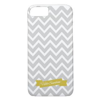 Hola caja gris del iPhone 7 de Chevron de la sol Funda iPhone 7