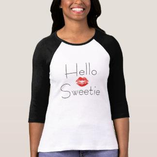 hola camiseta del raglán del sweetie playera
