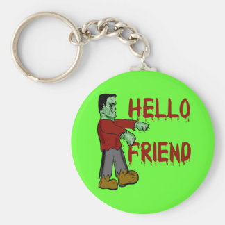 Hola camisetas espeluznantes de Frankenstein del a Llavero Redondo Tipo Pin