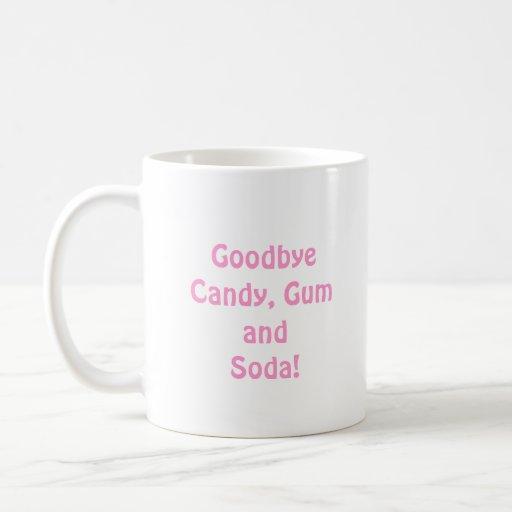 Hola caramelo, goma y soda del rosa de los apoyos  taza de café