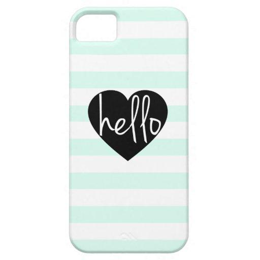 Hola caso del iPhone 5/5S de la raya de la menta iPhone 5 Case-Mate Protectores