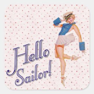 Hola chica del Pin-para arriba del marinero Pegatina Cuadrada
