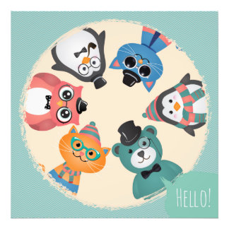¡Hola! Círculo animal de los amigos Cojinete