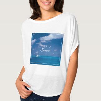 Hola cita azul de la foto del mar del Caribe del Poleras
