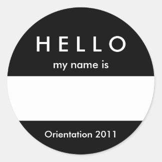 Hola color y mensaje conocidos del personalizar pegatina redonda