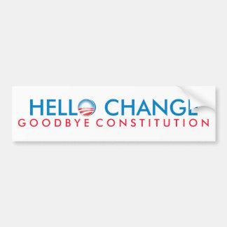 Hola constitución del cambio adiós pegatina para auto