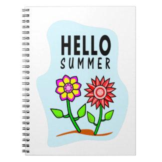 hola cuaderno colorido de las flores del verano