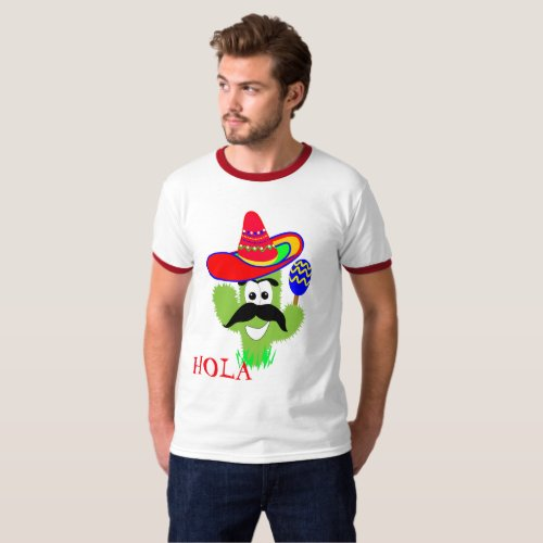 Hola Cute Mexican Sombrero Cactus Funny Graphic T_Shirt