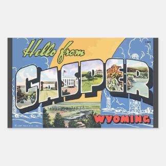 Hola de Casper Wyoming, vintage Rectangular Pegatina