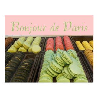 Hola del francés famoso Macroons de París Tarjetas Postales