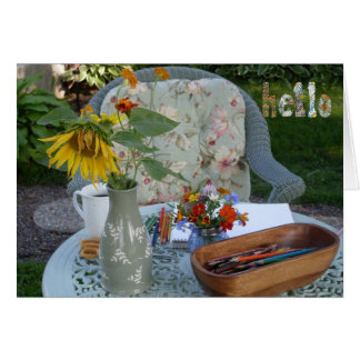 Hola del jardín tarjeta de felicitación