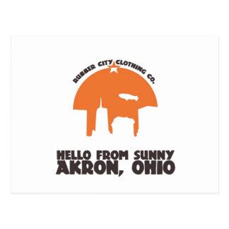 Hola del ` soleado de Akron Ohio Tarjeta Postal